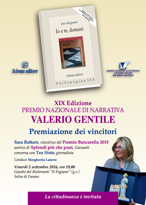 """Cerimonia di premiazione della XIX edizione del Premio Nazionale di Narrativa """"Valerio Gentile"""""""